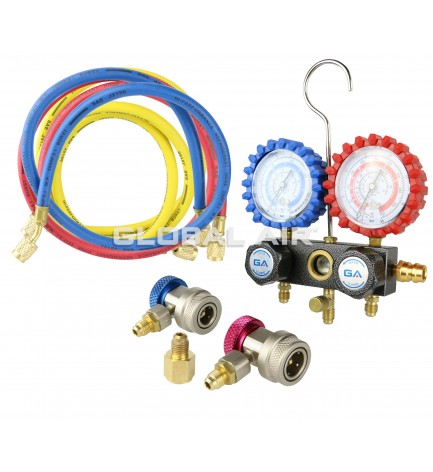 Heavy-Duty Manifold Gauge R-134a, R12, Two Couplers, Rubber Protector on Gauges, Three 72 Hoses