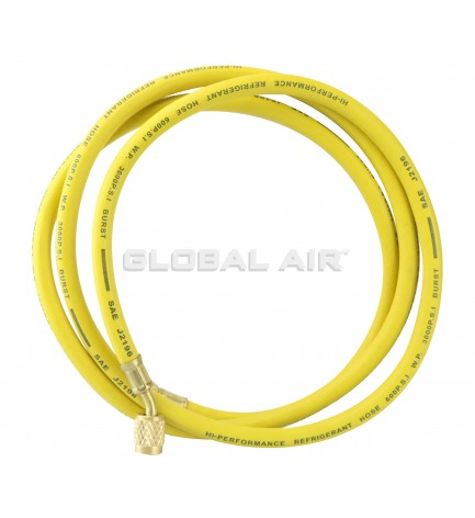 """72"""" YELLOW R134a Charging Hose with 1/4"""" Swivel Connection and Standard Fitting"""