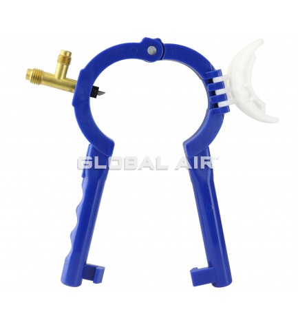 R134a & R12 Side Mount 2 7, 8 O.D. Refrigerant Can Tap Valve with Adacter for 2 Oil Charge Cans